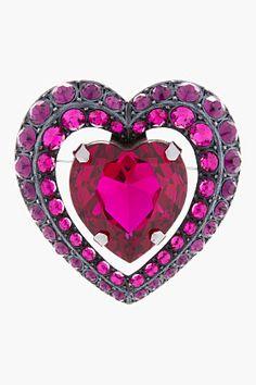 LANVIN Pink Crystal Heart Brooch