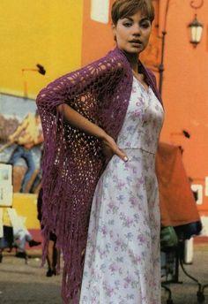 Purple Fringe Shawl free crochet graph pattern