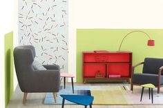 Bold and bright, Connect, a 2016 theme forecasted by consists of geometric motifs, sculptural colour treatment and all-over colour. Plascon Paint Colours, Paint Colors, Spring Home, Color Of The Year, Color Inspiration, Vivid Colors, Color Schemes, Living Spaces, Pure Products