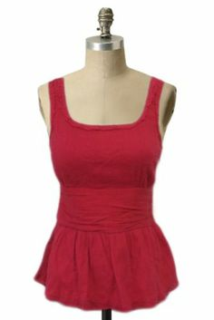 Marc Jacobs Nordstrom Red box neck sleeveless Blouse Top Sz 2 frayed seam detail