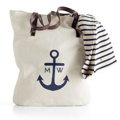 Anchor Canvas Tote with Striped Sailor Shirt Anchor Canvas, Nautical Canvas, Personalized Tote Bags, Mark And Graham, Monogram Tote, Tote Handbags, Canvas Handbags, Canvas Purse, My Style