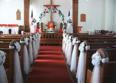 Ceremony pew decorations in Church - Flowers - Zimbio Church Pew Decorations, Ceremony Decorations, Look 80s, Church Wedding Ceremony, Church Pews, Church Weddings, Wedding Altars, Church Flowers, We Are The World