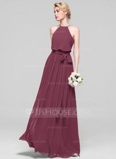 A-Line/Princess Scoop Neck Floor-Length Chiffon Bridesmaid Dress With Bow(s) (007090145) - JJsHouse