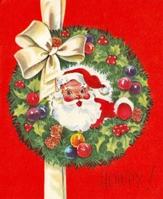 #retrochristmas Vintage Christmas Card. Christmas Wreath.