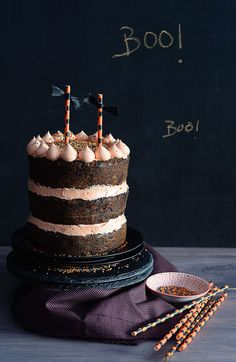 Chocolate cake with orange swiss meringue buttercream