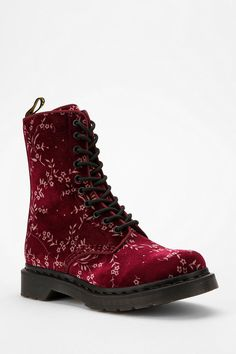 Martens Avery Velvet Boot from Urban Outfitters. Shop more products from Urban Outfitters on Wanelo. Dr. Martens, Old Boots, Shoe Boots, Boot Over The Knee, Look Fashion, Fashion Shoes, Mode Grunge, Mode Shoes, Looks Style