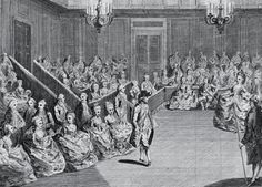 """The new Duchess was to be presented to the queen at court in the Drawing Rooms of St. James' Palace. Georgiana wore her wedding gown, William was 4 hours late. """"His Grace is as happy as the Duchess, but his countenance does not mark it so strongly."""" (Lady Mary Coke)    *[A View of the Ball at St. James on his Majesties Birth Night, c. 1782]"""