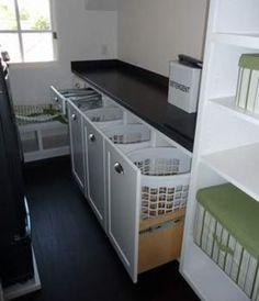 Выдвижные шкафчики для корзин с бельем