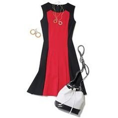 Avon's Colorblock Fit and Flare Dress is fitted at the waist. Flared skirt with black side panels. Shop now. Little Red Dress, Perfect Little Black Dress, Avon Clothing, Chic Clothing, Avon Fashion, Trendy Plus Size Fashion, Fashion Painting, Signature Collection, Chic Outfits