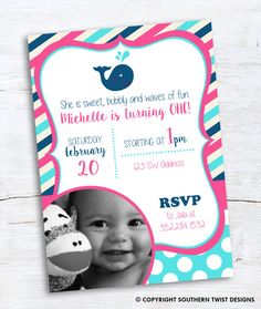 Whale invitation is perfect for a nautical themed girls 1st birthday! Includes a spot for a photo. Turquoise, navy and pink stripes. Matching thank you card with photo also available!  Print it yourself or take it to a local printer. We also offer printing services if you are interested. Please send a message to get a quote.  In search of custom designs? Contact us at Southern Twist Designs! ------------------ WHAT IS IT? ------------------ • This listing is for customized printable…