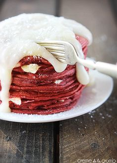 do-not-touch-my-food:  Red Velvet Cheesecake Pancakes