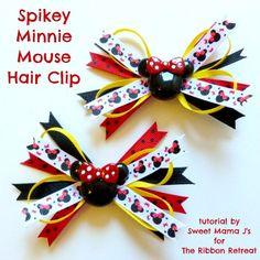 Project Bazaar: Minnie Mouse Spikey Hair Clip Tutorial (the ribbon retreat) Ribbon Crafts, Ribbon Bows, Ribbon Hair, Ribbon Flower, Hair Ribbons, Girl Hair Bows, Girls Bows, Disney Hair Bows, Ribbon Retreat