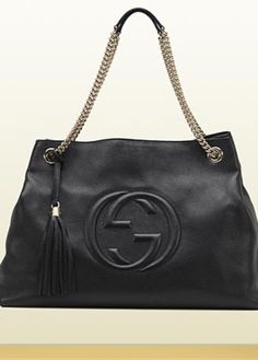 4b524d7b9 Get one of the hottest styles of the season! The Gucci Soho Double Chain  Strap Black Leather Shoulder Bag is a top 10 member favorite on Tradesy.