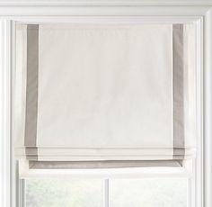 Appliquéd Frame Cotton Canvas Roman Shade contemporary curtains
