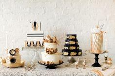 amazing gold cream and black cakes