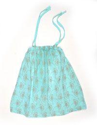 Muntgroen katoenen jurkje met bloemetjes - Picnik 35 euro, maat 92