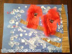 handprint cardinal kids art craft bird ~ Silly Eagle Books