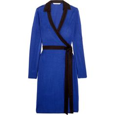Diane von Furstenberg Jeannae two-tone stretch-knit wrap dress (12 080 UAH) ❤ liked on Polyvore featuring dresses, cobalt blue, cobalt blue dress, blue dress, stretch knit dress, wrap style dress and blue wrap dress