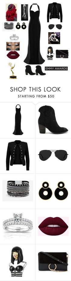 """Live Red Carpet. Emmy Awards"" by ramona-roxie ❤ liked on Polyvore featuring STELLA McCARTNEY, Jeffrey Campbell, Ray-Ban, White House Black Market, Annello, Nicki Minaj and Chloé"