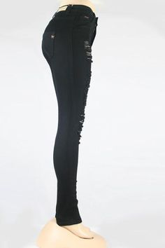 Distressed Skinny Jeans (Black)