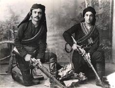 Greek fighters--perhaps blackshirts. Despite daunting odds, Greek rebels are fierce.