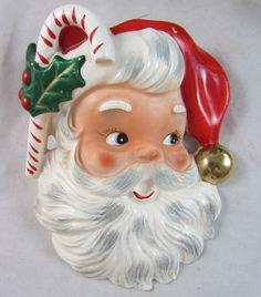 Vintage Napco Wall Pocket Santa Candy Cane Holly  Planter