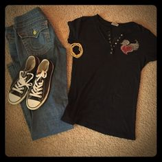Tankh black top with Swarovski crystals ❤️ SzL Gently worn - great condition - Tankh black tee with Swarovski crystals all intact, none are missing - says heart + soul on back with a ❤️ and angel wings - SO cute! - I paired it with jeans and chucks and a gold necklace wrapped around so I can wear it as a bracelet ☺️ Tankh Tops Tees - Short Sleeve
