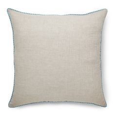 100% Pure Linen Natural Pillow Cover, Decorative Square Throw Pillow Cover Cushion Case Joie With Stripe Cord Piping, 20 x 20 Inch Light Natural And Ice Blue Cushion Cover Case by Solino Home -- Check this awesome product by going to the link at the image. (This is an affiliate link) #PillowCovers