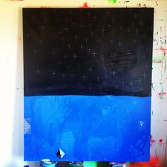 """Night Stars, Night Pool, mixed media on canvas, 60""""x48"""", www.sarahboytsyoder.com"""
