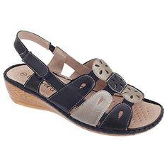 Boulevard Damen Slingback Sandale mit Klettverschluss (41 EUR) (Marineblau/Silber) - http://on-line-kaufen.de/boulevard-apparel-group/41-eu-boulevard-damen-slingback-sandale-mit-3