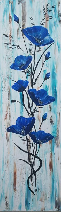 """In blue acrylic portray on canvas By Raffin Christine Fb: The star of Chris Supp Easy Canvas Painting, Painting & Drawing, Canvas Art, Art Sur Toile, Pallet Art, Watercolor Techniques, Acrylic Art, Painting Inspiration, Flower Art"