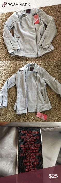 Fleece motorcycle jacket Lightweight gray fleece motorcycle jacket. Super cute and has zipper detailing. NWT Yoki Jackets & Coats