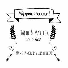Een leuke save the date of verlovingskaart met leuke doodles in zwart-wit. De namen, datum en binnenzijde is aan te passen.  Maak je eerste kaart gratis op www.kaartje2go.nl  #doodles #savethedate #trouwen #wedding