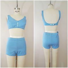 Vintage 1960s Swimsuit / 60s Bikini / Blue / Mod Swimsuit