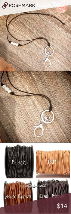 """NEW Artisan Leather Freshwater Pearl ID Lanyard Handmade by me. Available in black, dark brown (pic), warm brown, or tan leather. Currently only available in silver clips. Genuine Freshwater pearls and genuine leather. Measures 26"""" - perfect length to slip over your head! Simple knot to close. Reasonable offers accepted via offer button only. No trades. I strive to maintain good feedback. I'm a real person. If for any reason you are unhappy with your purchase, please contact me. Coffee…"""
