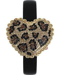 Leopard heart watch by Betsey Johnson<3