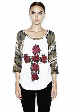 Drew Color Rose Cross 3/4 Draped Slv. Raglan