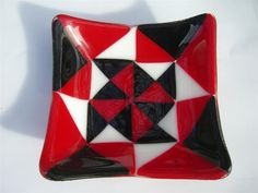 Geometric Glass Fused Candy Dish by BellissimaGlass on Etsy, $55.00