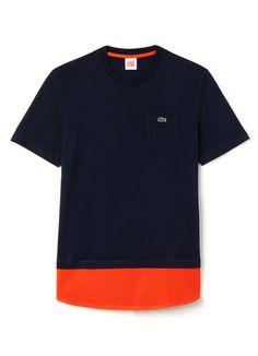 T-shirt col rond Lacoste LIVE en jersey à empiècement