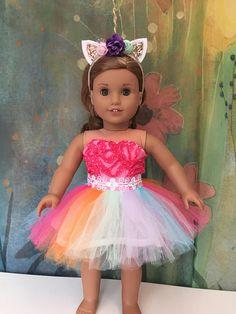 f4cd1d5ea Adorable outfit with rainbow tutu dress and sparkly unicorn headband. So  cute-custom Made