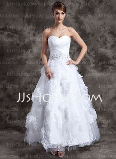 A-Line/Princess Sweetheart Ankle-Length Organza Tulle Wedding Dress With Lace Beadwork Flower(s) (002014984) - JJsHouse