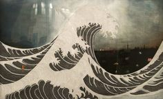 "Discovered at Chemould Prescott Road's booth at Art Basel, ""Untitled (The Wave)"" (2012) by Hema Upadhyay is a near replica of Hokusai's famous woodcut. However, the homage is created from quotations that have been cut into thin strips, and the painted background includes a metropolis that is absent from Hokusai's version."