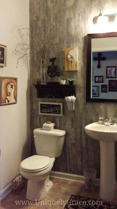 paint putty knife and a powder room, bathroom ideas, home decor, wall decor Bathroom Wall, Small Bathroom, Bathroom Ideas, Bathrooms, Home Design, Design Ideas, Powder Room Paint, Powder Rooms, Faux Brick Walls