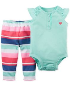 Carter's Baby Girls' 2-Piece Mint Bodysuit & Stripe Pants Set  | macys.com