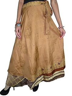Beach Wrap Skirts Vintage Silk Sari Brown Reversible Wrap Around Skirt Mogul Interior http://www.amazon.com/dp/B00ORGQOY4/ref=cm_sw_r_pi_dp_Dggsub1NTBYXP