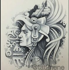 Prison Arte Chicano Tattoos, Chicano Art, Body Art Tattoos, Ear Tattoos, Aztec Tattoo Designs, Aztec Tribal Tattoos, Aztec Art, Aztec Warrior Tattoo, Arte Cholo