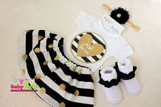 SALE black and Gold heart just born Take Home Outfit by MsPerks