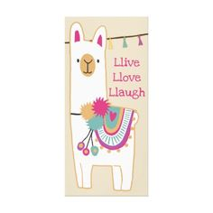 Cute llama with custom background color canvas print - girl gifts special unique diy gift idea