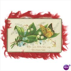 Victorian Christmas card red silk fringe embossed butterfly flowers antique