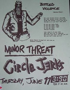 Minor Threat, Circle Jerks punk hardcore flyer